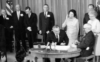 President Johnson signs the Medicare Act of 1966